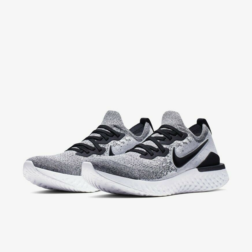NIKE Epic React Flyknit 2 BQ8928-101 White  Black Authentic Mens Running shoes