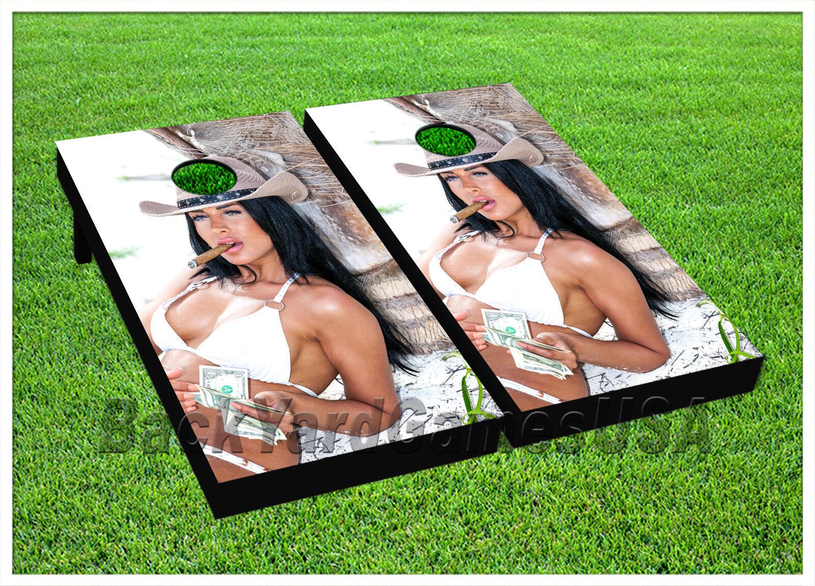 CORNHOLE BEANTasche TOSS GAME American Cowgirl Weiß w Tasches Game Boards Set 1063