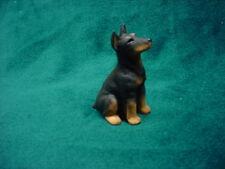 DOBERMAN PINSCHER black cropped puppy TiNY DOG Figurine HAND PAINTED MINIATURE
