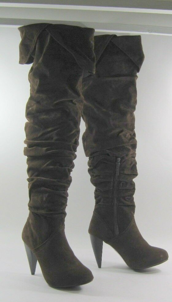 Brown 4  High Heel Round Toe Over The Knee Sexy Boot Size 6