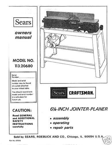 Craftsman 6 1//8 Jointer Operators Manual No.113.20680