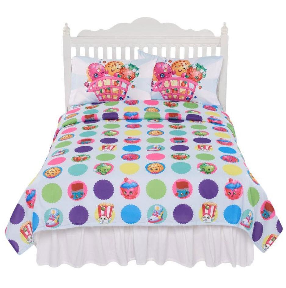 SHOPKINS Cart Sheet Set - Super Soft - White Multi-color - Full or Twin NEW