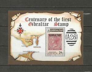 GIBRALTAR-1986-Anniv-of-the-Postage-Stamp-in-Gibraltar-MUH-MINIATURE-SHEET