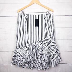 New-90-Portmans-Womens-Skirt-16-Stripe-Ruffle-Stretch-Black-White-Festival-C216