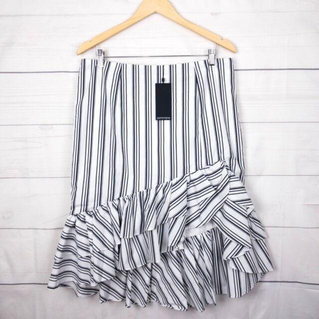 New $90 Portmans Womens Skirt 16 Stripe Ruffle Stretch Black White Festival C216
