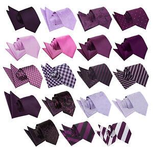 DQT-violet-homme-tie-hanky-Set-Solid-Plain-Ecossais-a-Motifs-Floral-Paisley-Polka