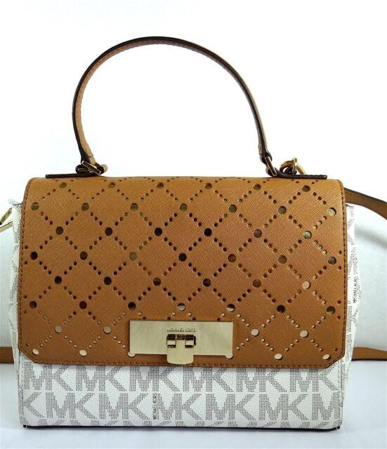 149cbaf3fc64 Michael Kors Violet Callie 35t7gv1s2b Satchel Handbag Vanilla/gold ...