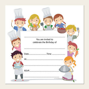 kids children s birthday invitations cooking pizza party pack