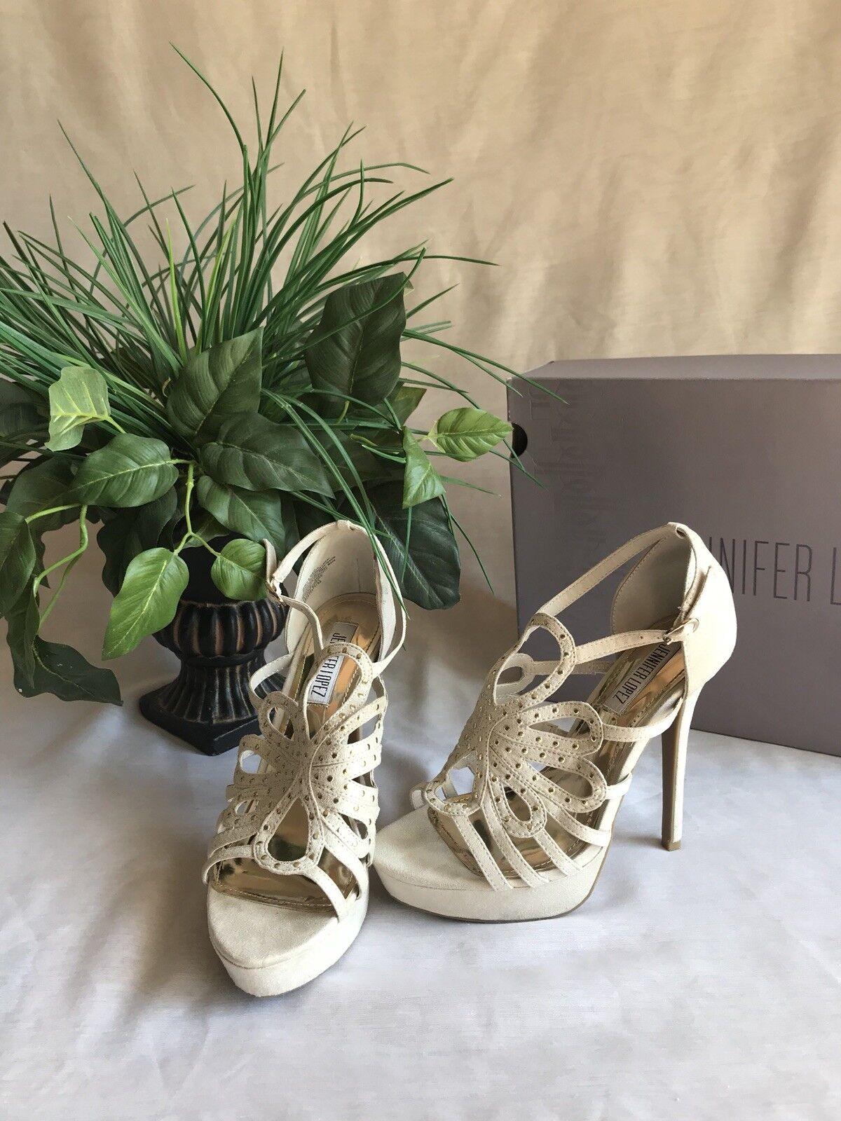 JLo JL Jadegreige Ankle T Stap Platform Open Toe Sandale NEU in Box Größe 6