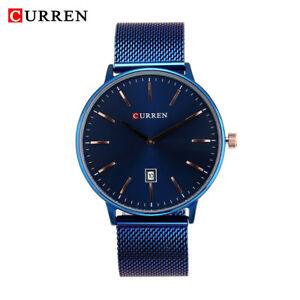 CURREN-Mens-Fashion-Steel-Strap-Quartz-Watch-Round-Thin-Dial-Calendar-Wristwatch