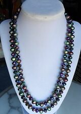 "Joan Rivers Necklace Czech Republic Baroque Pearl & Glass Beads 42"" Green Purple"