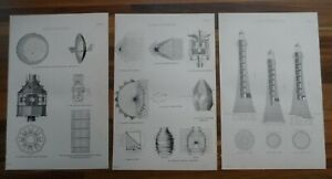 Set-of-3-antique-lighthouse-prints-Victorian-19th-century-marine-boating-theme