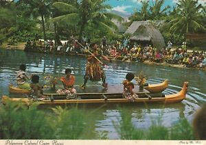 Hawaii-Postcard-034-Warrior-Dancers-Pageant-of-Long-Canes-034-Polynesian-Cultural