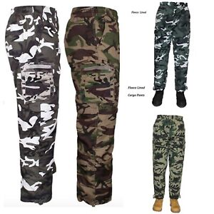 Mens-Fleece-Lined-Cargo-Trousers-Elasticated-Combat-Work-Pants-Army-Bottoms