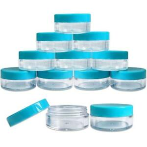 a1fc0b8e8c51 Details about 20 Pieces 10G/10ML Round Cosmetic Cream Clear Plastic Sample  Pots Jars Teal Lids