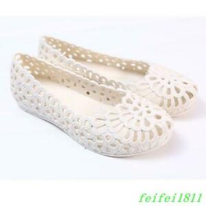 Womens-Sandals-Plastic-Hollow-Out-Ballet-Flats-Slip-On-Jelly-Casual-Summer-Shoes