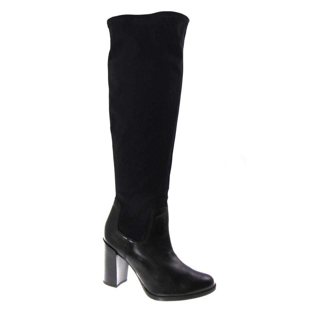 Stivali Donna marca Soldini in pelle e lycra nero con tacco alto da infilare