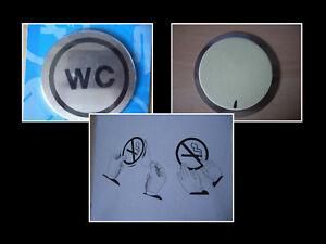 WC-Tuerschild-FRAU-Emblem-Symbol-NICHT-RAUCHEN-MANN-Edelstahl-selbstklebend-NEU