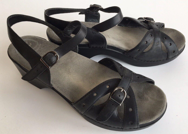 Dansko Women Black Leather Sandals Ankle Strap Adjustable Size 41 10.5-11