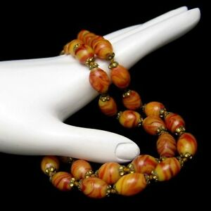 Vintage-1930s-Czech-or-Italian-Art-Glass-Beads-Necklace-Yellow-Brown-Knotted