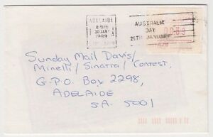 Stamp-Australia-39c-Possum-Frama-cliche-A78-on-1989-cover-used-locally-Adelaide