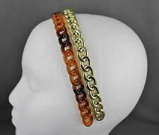 Brown Gold set pack of 2 chain link plastic headband hair band accessory