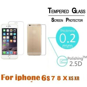 Premium Front and Back Tempered Glass Screen Protector For iPhone 6 7 8 X MAX XS