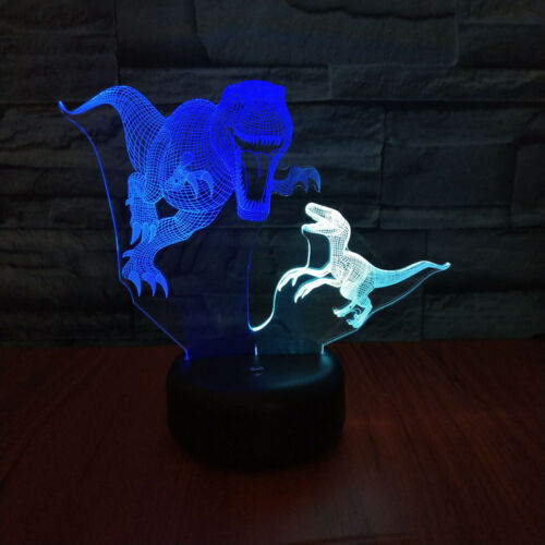 Details about  /Abstractive Dinosaur DualColor Optical Illusion Lamp Touch Switch Birthday Gift
