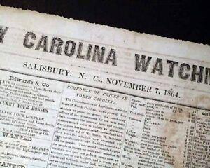 Very-Rare-SALISBURY-NC-North-Carolina-CONFEDERATE-Civil-War-1864-Old-Newspaper