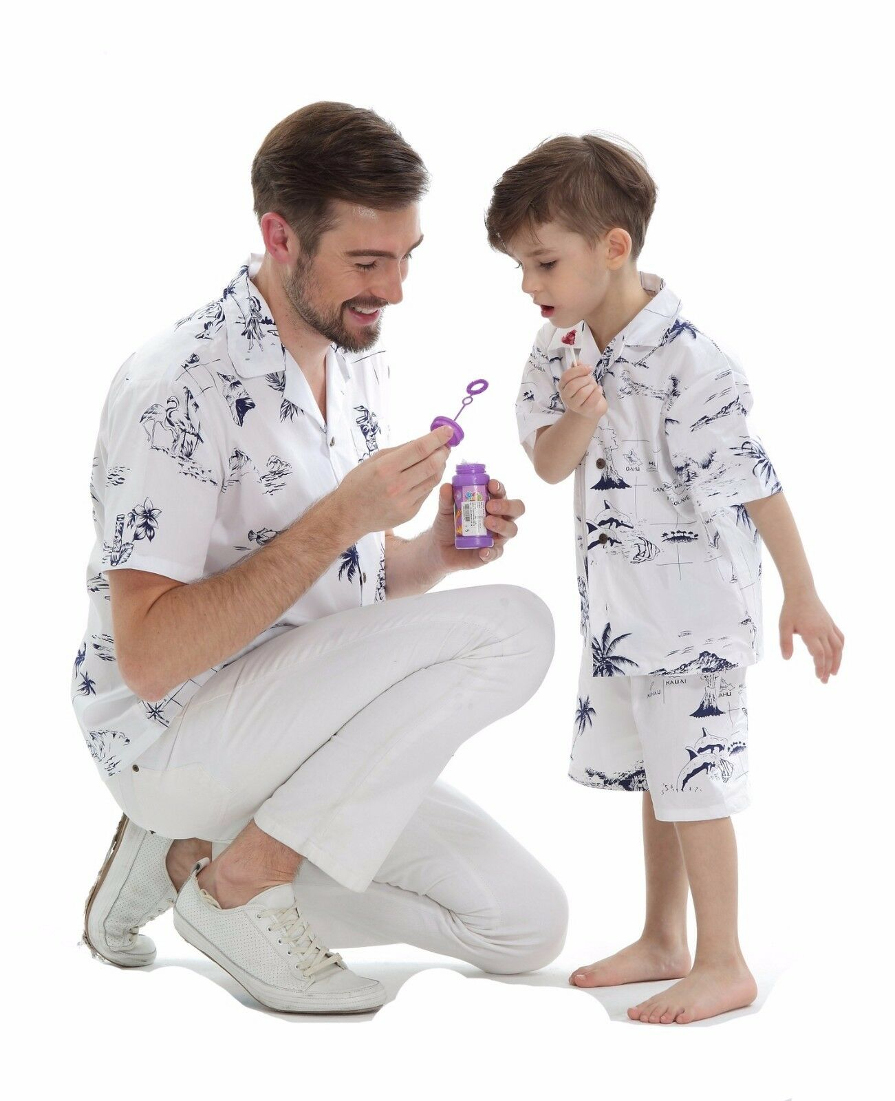 Father Son Matching Aloha Shirts Hawaiian Dance Luau Party Classic White map