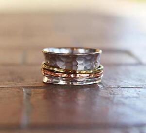 Argent Sterling 925 Méditation Anneau Statement Ring Spinner Toutes Tailles Handmade Us1-afficher Le Titre D'origine