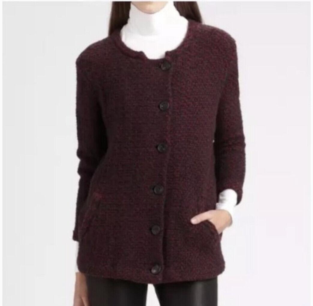 Theory Women 100% Wool Ambril Loryelle Cardigan Wine Gray size P/TP