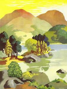 PAINTING-LAKE-DISTRICT-SPARROW-ULLSWATER-LANDSCAPE-ENGLAND-PRINT-POSTER-BB8540