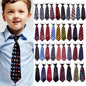 School Boy Kids Child Toddler Pattern Stripe Elastic Tie Necktie Party Wedding