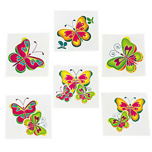 Kids Butterfly Temporary Tattoos Butterflies Tattoo Pack of 36 Free Postage