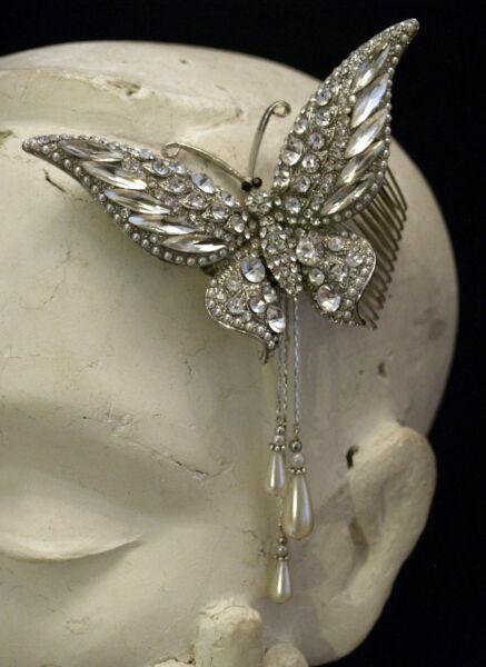 1pc Grande Farfalla Cristallo Perla Goccia Capelli Diapositiva Pettine-da Cerimonia Sera Originale Al 100%