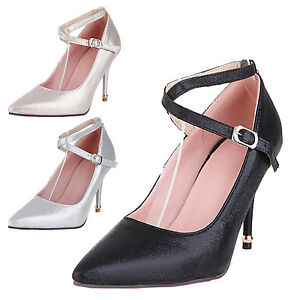 501c930cfeb Image is loading Ankle-strap-high-heels-Womens-Shoes-Strappy-Sparkle-