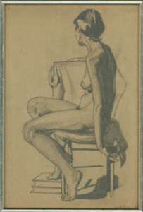 Claude Price  - Mid 20th Century Graphite Drawing, Seated Nude II
