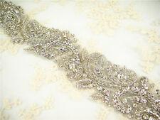 Gorgeous Diamante Motif Rhinestone Wedding Applique Trim Beaded Bridal Applique