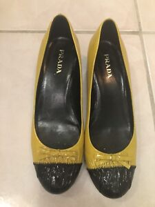 Details about Prada Shoes Size 39 Yellow and Black Patent Leather Kitten  Heel
