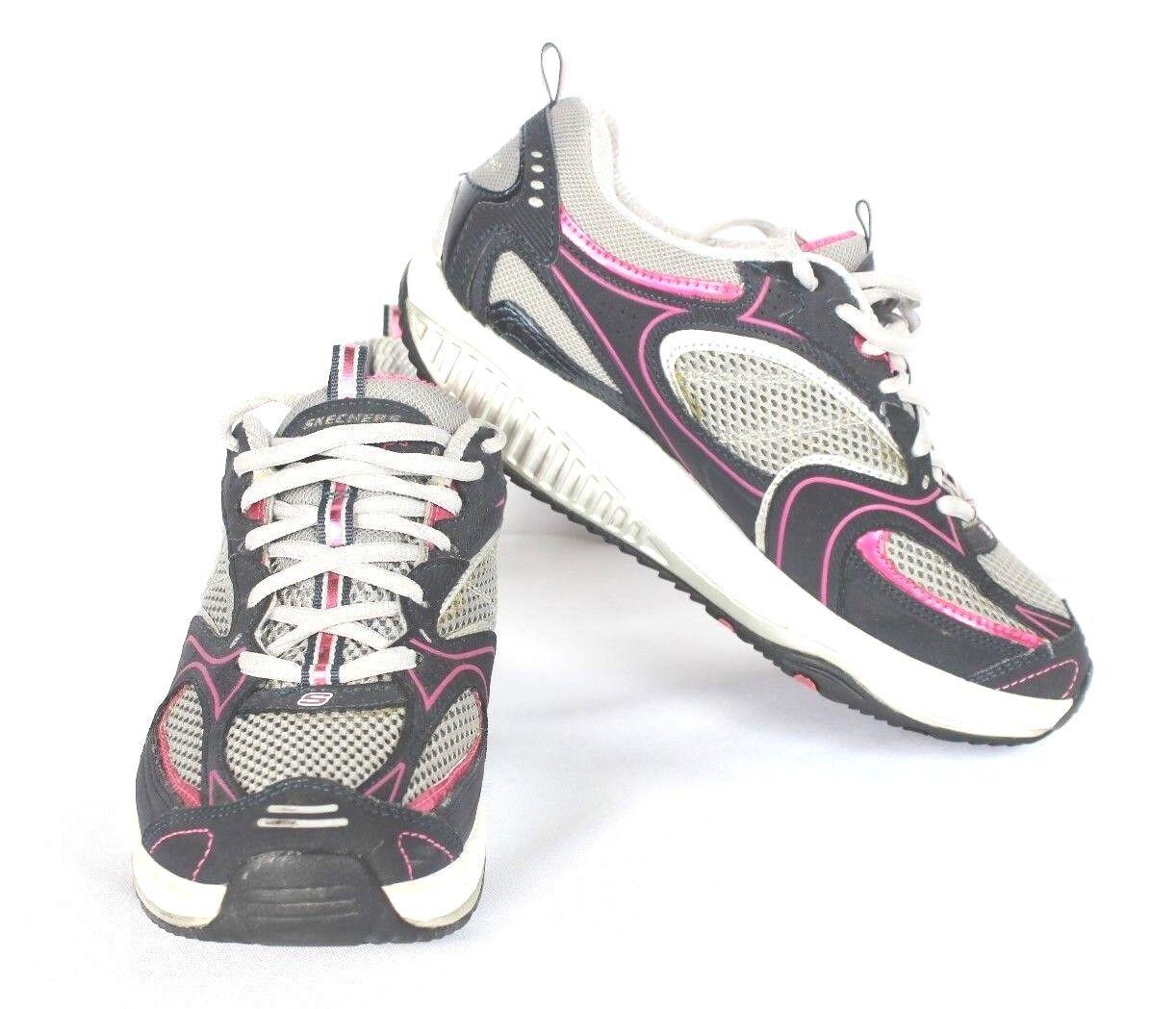 Skechers Ejercicio de Mujer 7.5 Zapatos para Caminar Ejercicio Skechers Shape Ups Tonificación Gris Rosa Cuero cb4770