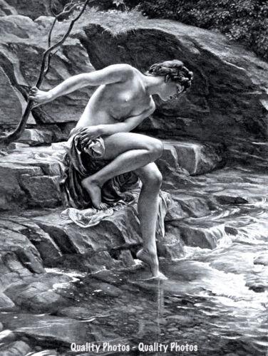 "The Nymphs Bathing Place 8.5x11/"" Photo Print Edward Poynter Nude Woman Art USA"