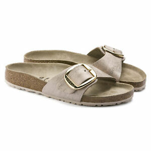 Details about Birkenstock Madrid Big Buckle Sandals Washed Metallic Rose Gold Suede show original title