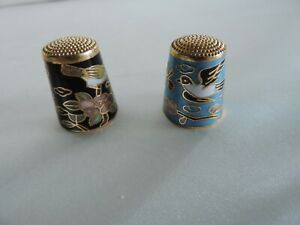 Thimbles Metal & Ceramic with gold Outlining Birds LOOK
