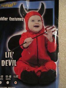 Details About Spirit Toddler Kids Halloween Costume Lil Red Devil Velvet Jumpsuit 1t 2t