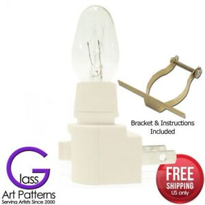 Night-Light-Kit-Supply-Bulb-Brass-Clip-6-12-Pack-White-Switch-Fuse-Stained-Glass
