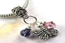 Pink Butterfly Dangle Charm Bead w Swarovski Elements European Style