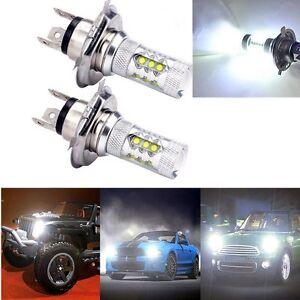 2-X-H4-80W-LED-Fog-DRL-Driving-Car-Head-Light-Lamp-Bulbs-White-Super-Bright