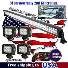 "52 inch Led Light Bar + 4x 4"" Led Pods CREE Truck SUV Boat Jeep Ford Fog 50/3"