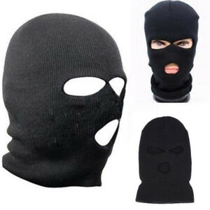 3 Hole Ski Mask Balaclava Black Knit Hat Face Shield Beanie Cap Snow ... f62221e35